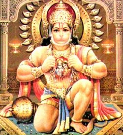 Hanuman with Lord in heart