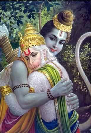 Hanuman embracing Lord Rama