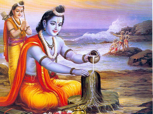 Rama worshipping Shiva
