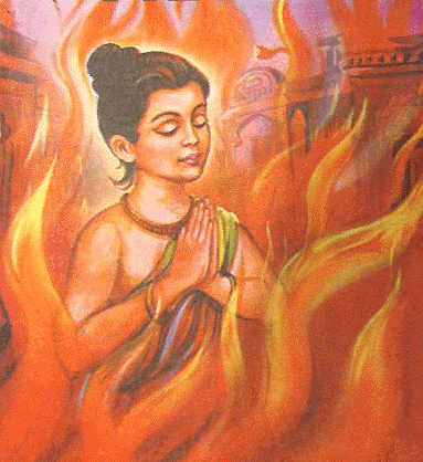 Prahlada in the fire