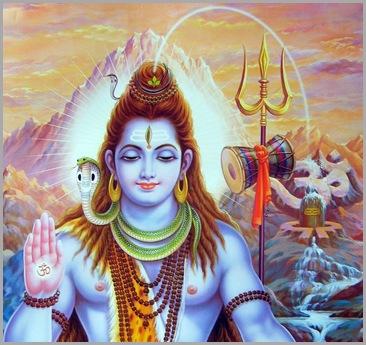 Lord Shiva with lingam and thirisula