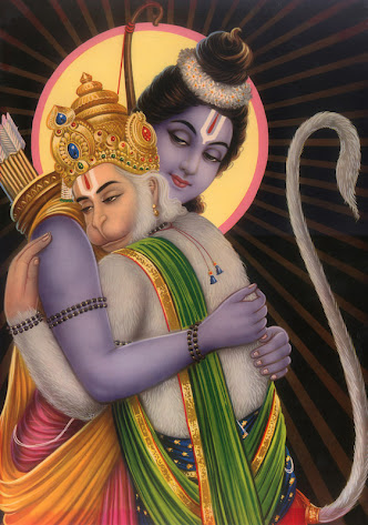 Rama and hanuman embracing